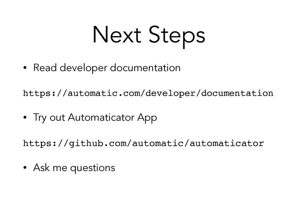 • Read developer documentation https://automati...