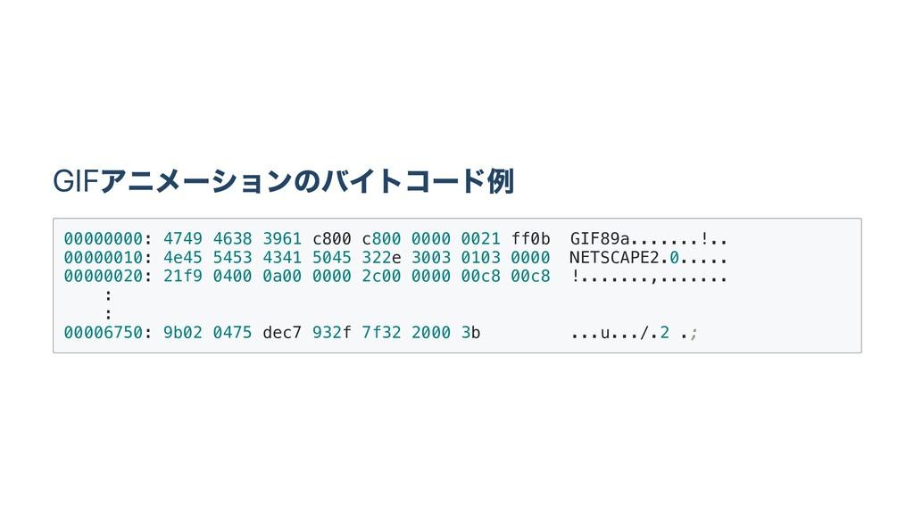 GIF アニメー ションのバイトコー ド例 0 0 0 0 0 0 0 0 : 4 7 4 9...