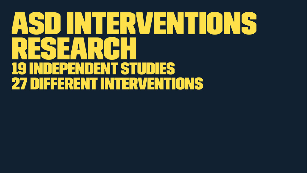 ASD Interventions Research 19 independent studi...