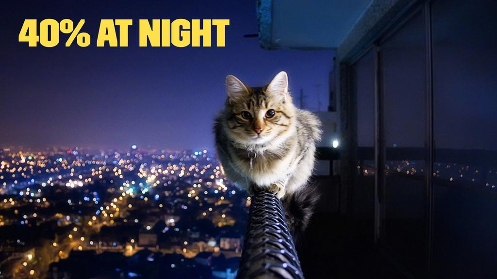 40% at night
