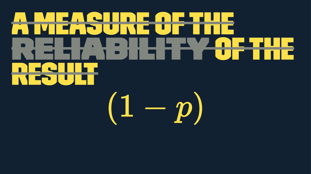 a measure of the reliability of the result