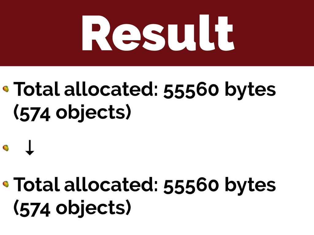 Result  Total allocated: 55560 bytes (574 objec...