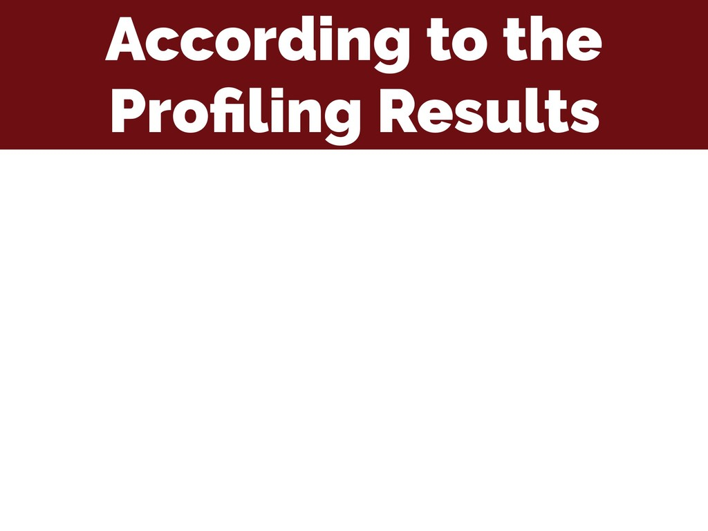 According to the Profiling Results