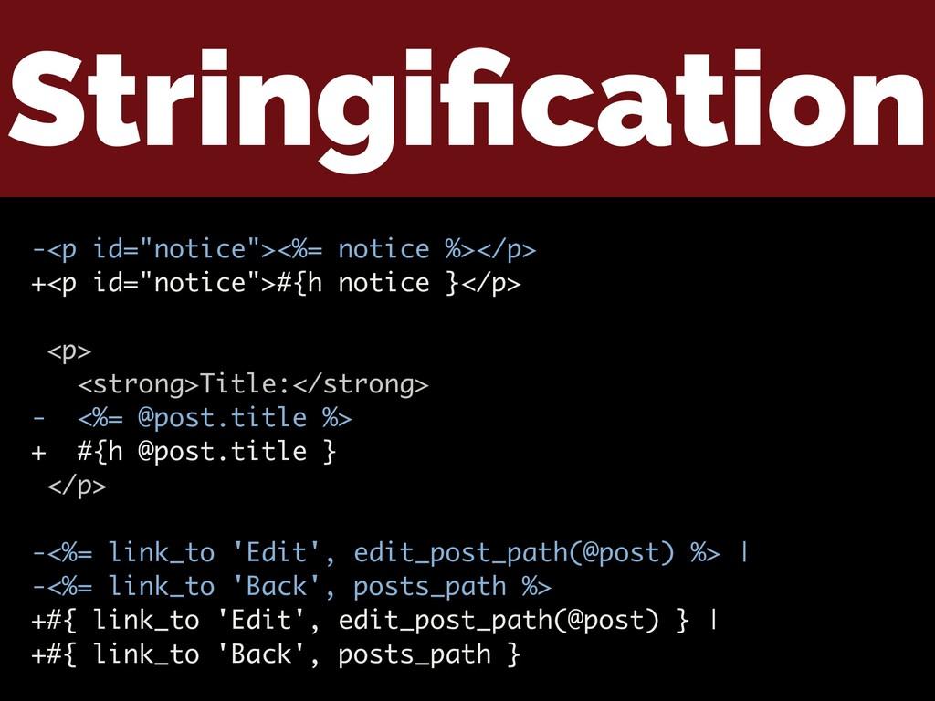 """Stringification -<p id=""""notice""""><%= notice %></p..."""