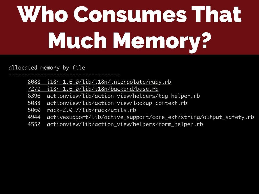 Who Consumes That Much Memory? allocated memory...