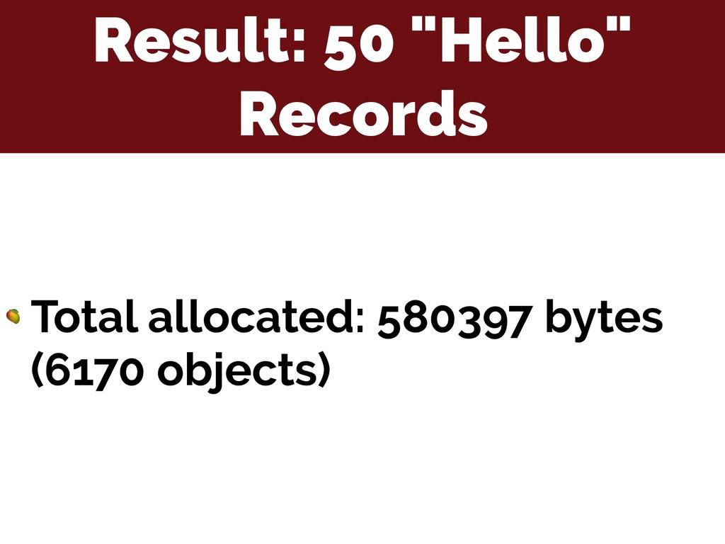 "Result: 50 ""Hello"" Records  Total allocated: 58..."