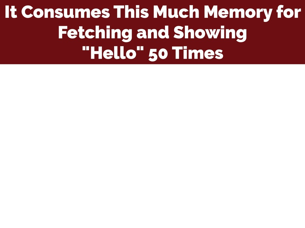 It Consumes This Much Memory for Fetching and S...
