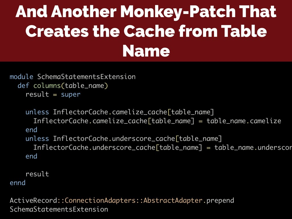 And Another Monkey-Patch That Creates the Cache...