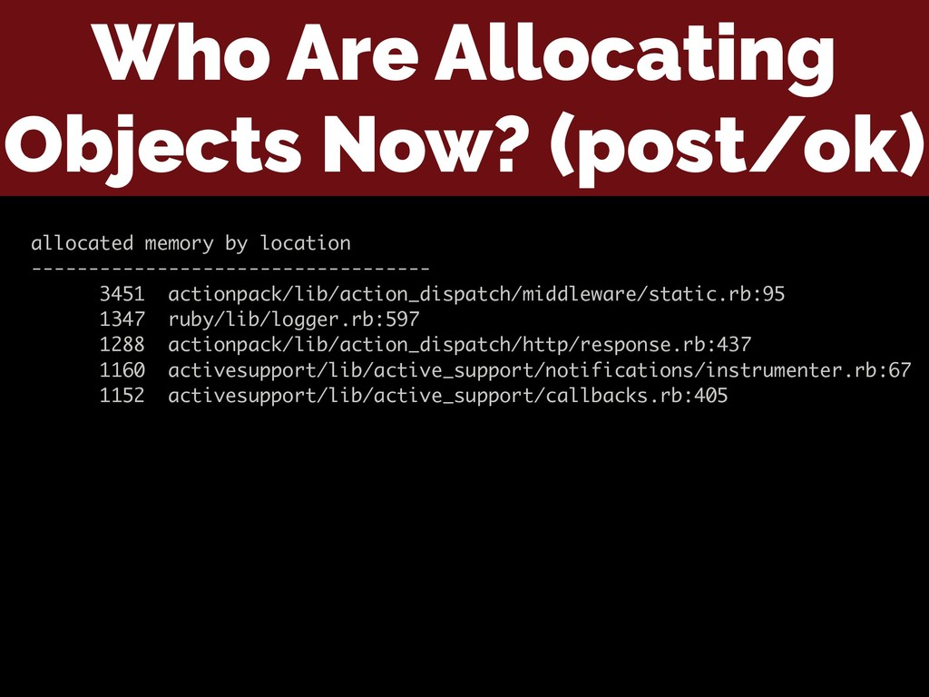 Who Are Allocating Objects Now? (post/ok) alloc...