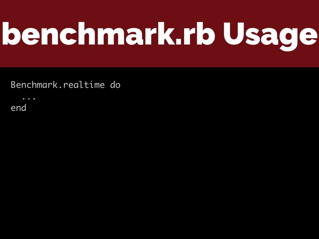 benchmark.rb Usage Benchmark.realtime do ... end