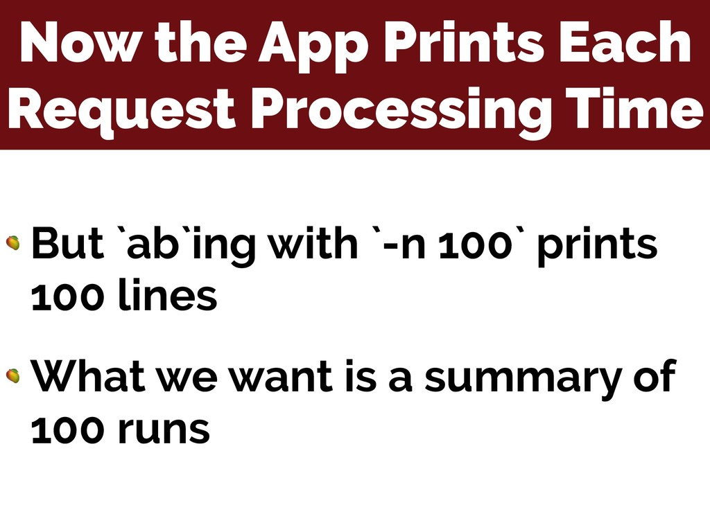 Now the App Prints Each Request Processing Time...