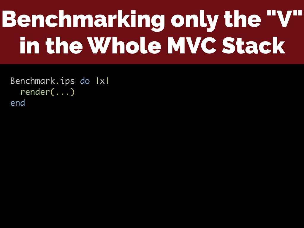 """Benchmarking only the """"V"""" in the Whole MVC Stac..."""
