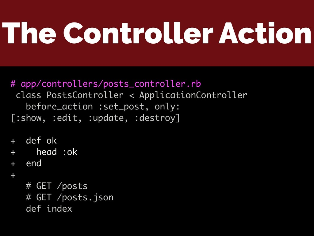 The Controller Action # app/controllers/posts_c...