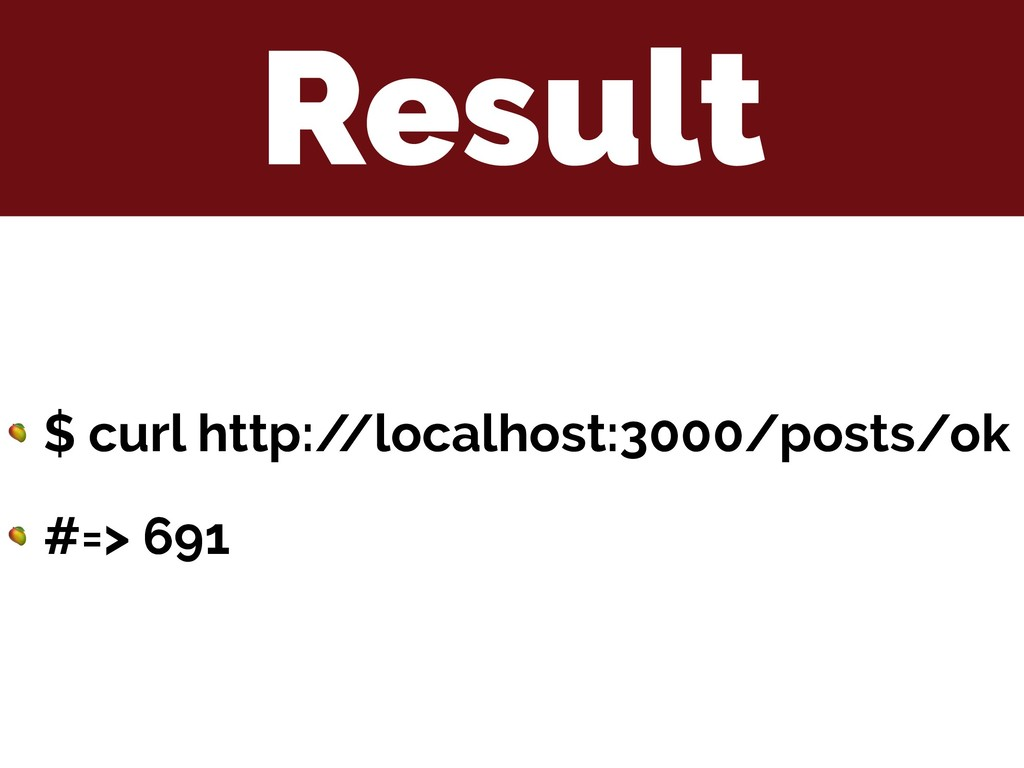 Result  $ curl http:/ /localhost:3000/posts/ok ...