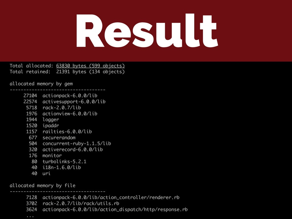 Result Total allocated: 63830 bytes (599 object...