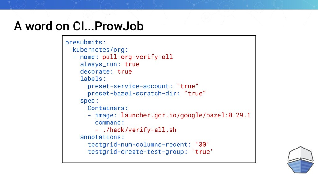 A word on CI...ProwJob presubmits: kubernetes/o...