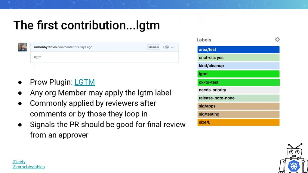 The first contribution...lgtm ● Prow Plugin: LGT...