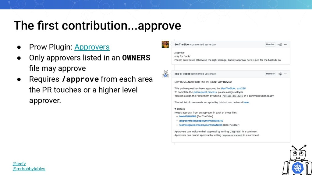 The first contribution...approve ● Prow Plugin: ...