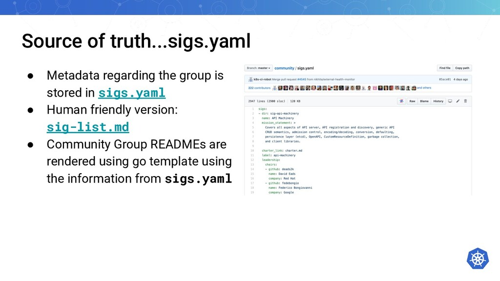 Source of truth...sigs.yaml ● Metadata regardin...