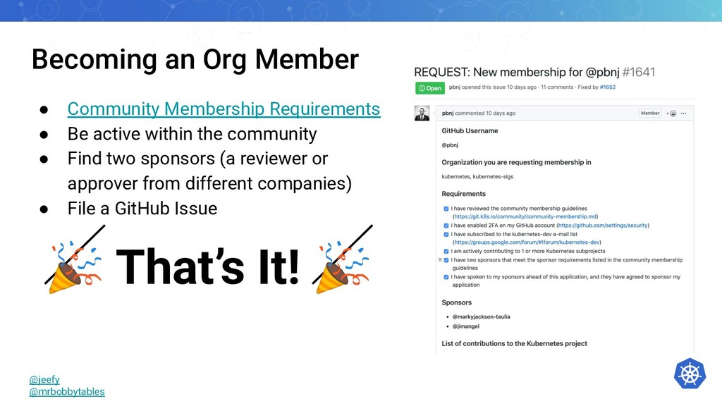 Becoming an Org Member ● Community Membership R...