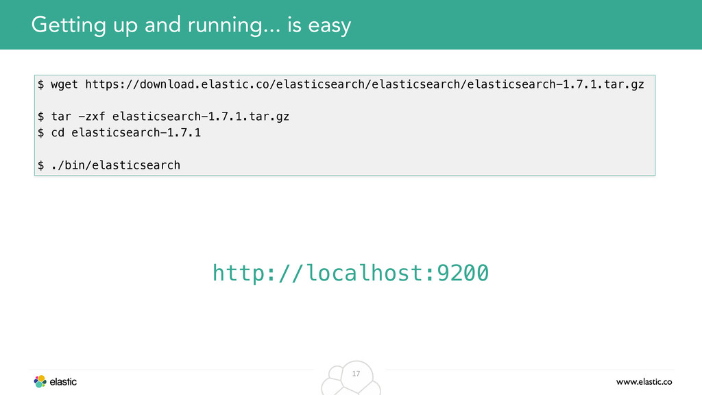 www.elastic.co 17 Getting up and running... is ...