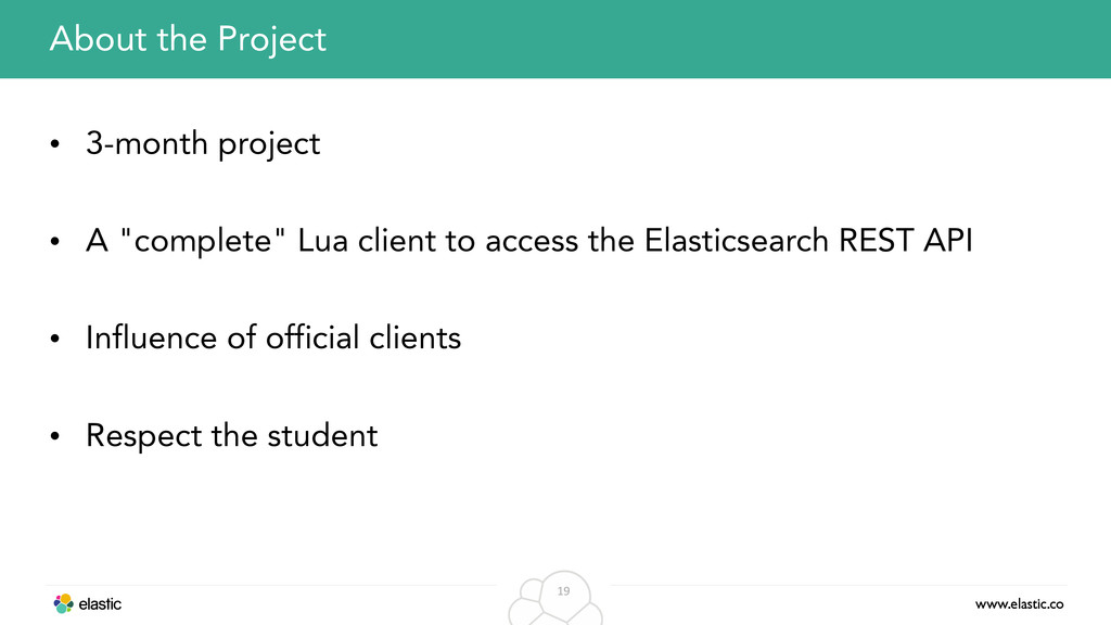 www.elastic.co 19 About the Project • 3-month p...