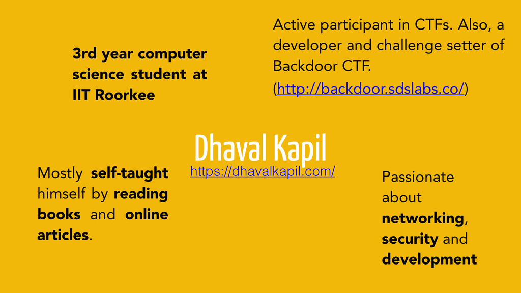 Dhaval Kapil 3rd year computer science student ...