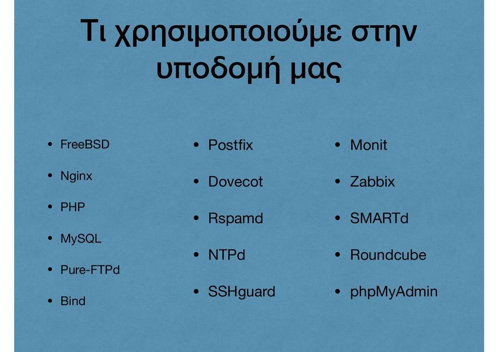 Τι χρησιμοποιούμε στην υποδομή μας • FreeBSD  •...