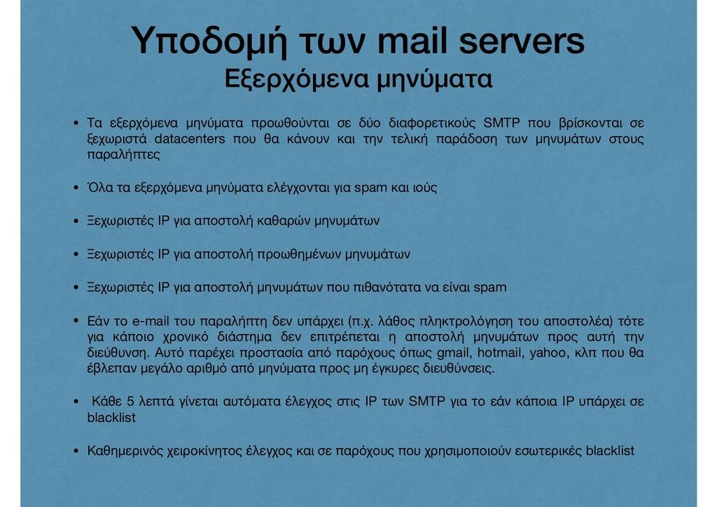 Υποδομή των mail servers Εξερχόμενα μηνύματα • ...