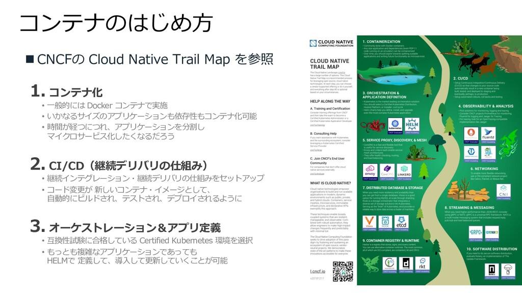 コンテナのはじめ⽅ n CNCFの Cloud Native Trail Map を参照 1....