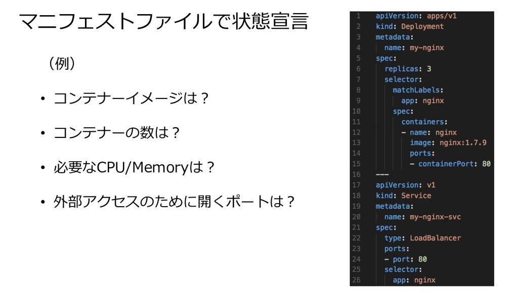 マニフェストファイルで状態宣⾔ (例) • コンテナーイメージは︖ • コンテナーの数は︖ •...