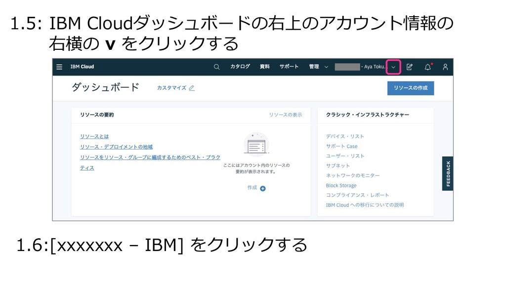 1.5: IBM Cloudダッシュボードの右上のアカウント情報の 右横の v をクリックする...