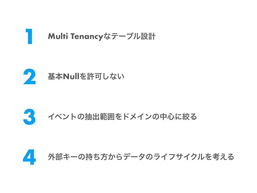 1 Multi Tenancyͳςʔϒϧઃܭ 2 جຊNullΛڐՄ͠ͳ͍ 3 Πϕϯτͷநग़...
