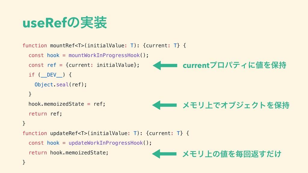 useRefͷ࣮ function mountRef<T>(initialValue: T)...