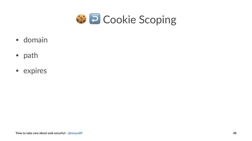 ! ↩ Cookie Scoping • domain • path • expires Ti...