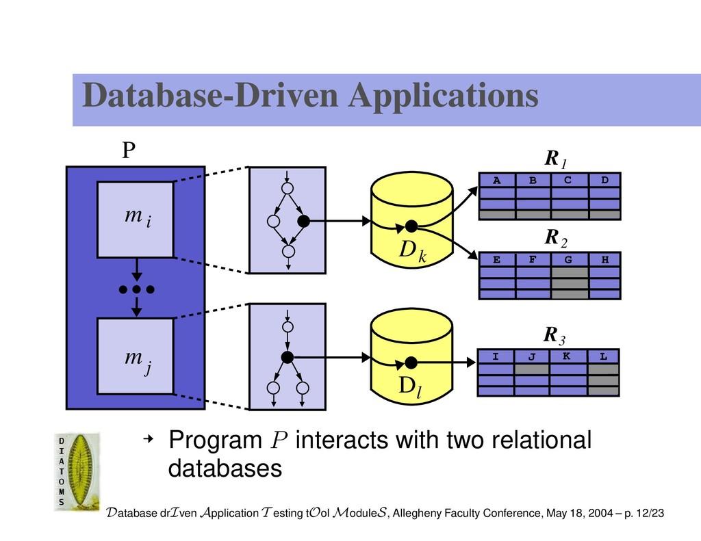 Database-Driven Applications P m i m j Dl Dk R ...