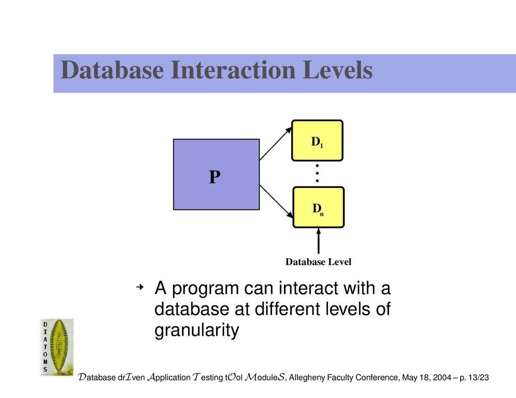 Database Interaction Levels P Database Level 1 ...