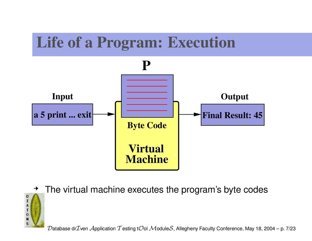 Life of a Program: Execution P Virtual Machine ...