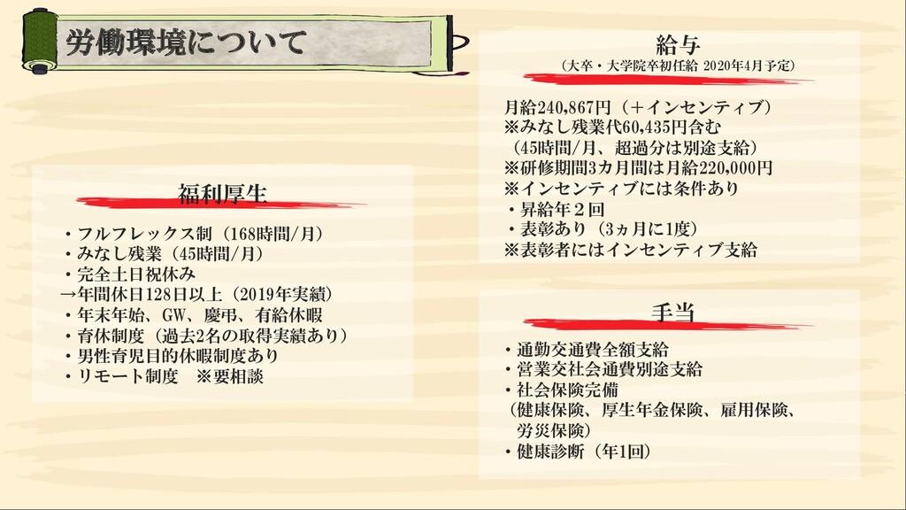 福利厚生 ・フルフレックス制(168時間/月) ・みなし残業(45時間/月) ・完全土日祝休み...