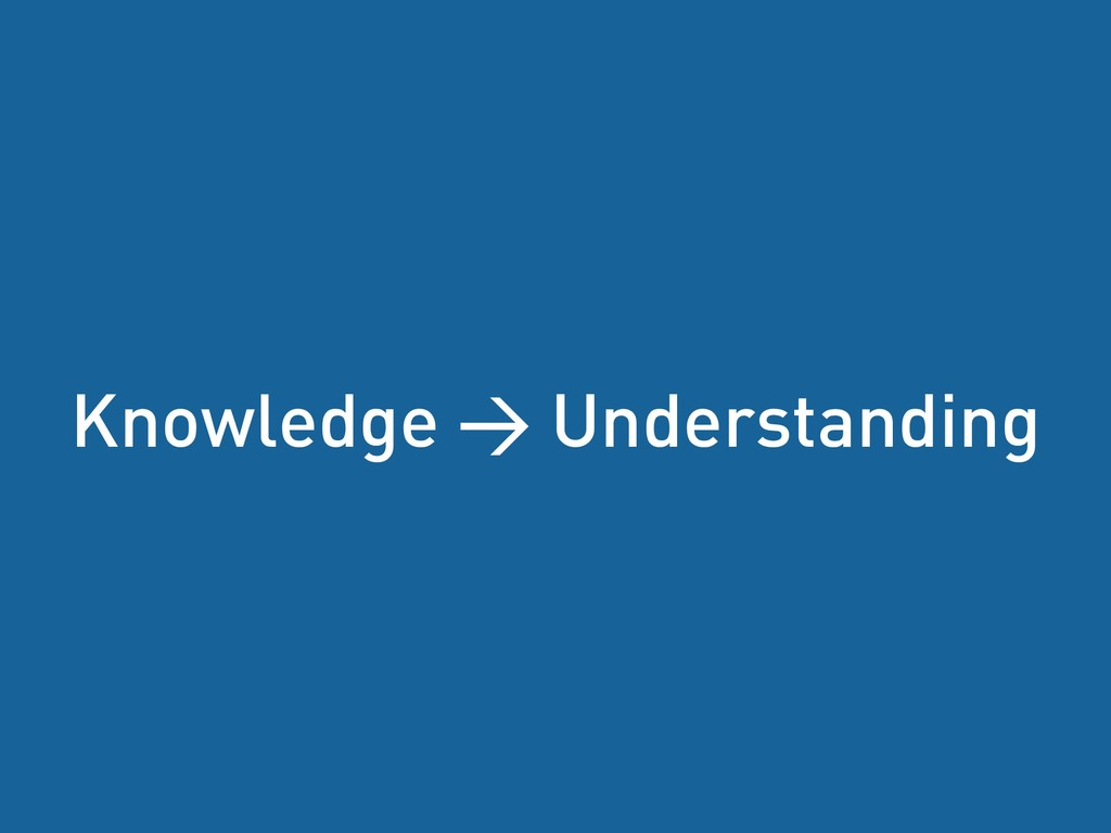 Tobias Fors | @tofo Knowledge > Understanding