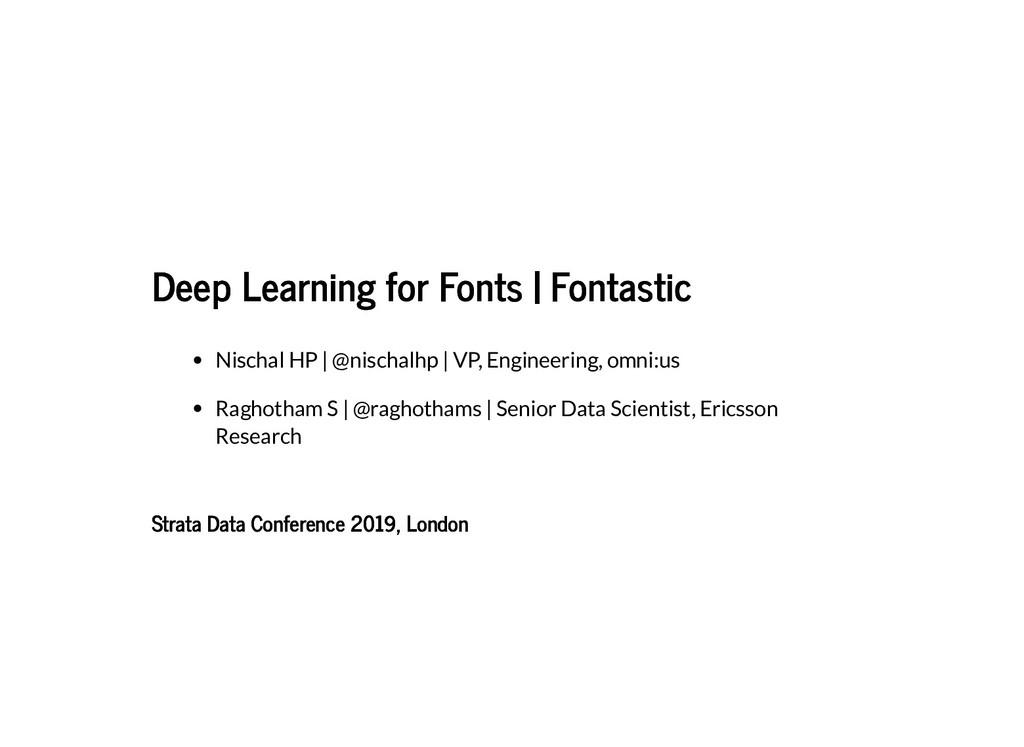Deep Learning for Fonts | Fontastic Deep Learni...