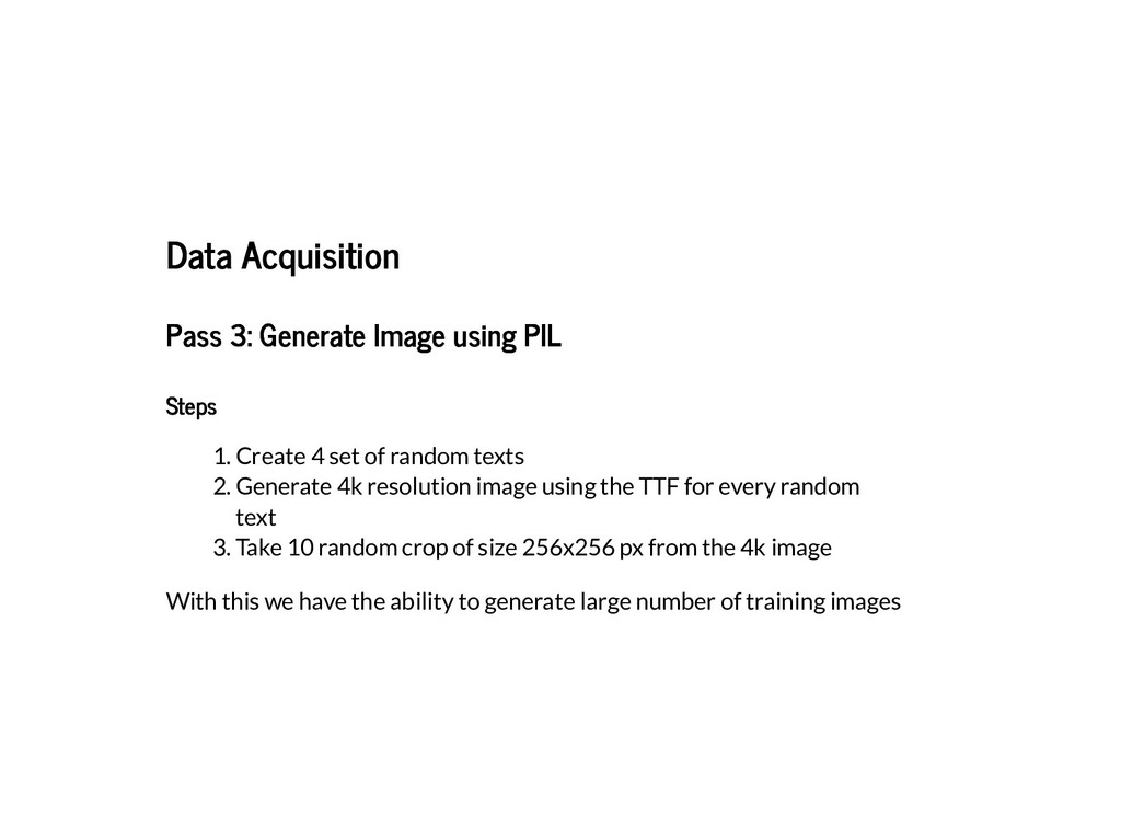 Data Acquisition Data Acquisition Pass 3: Gener...