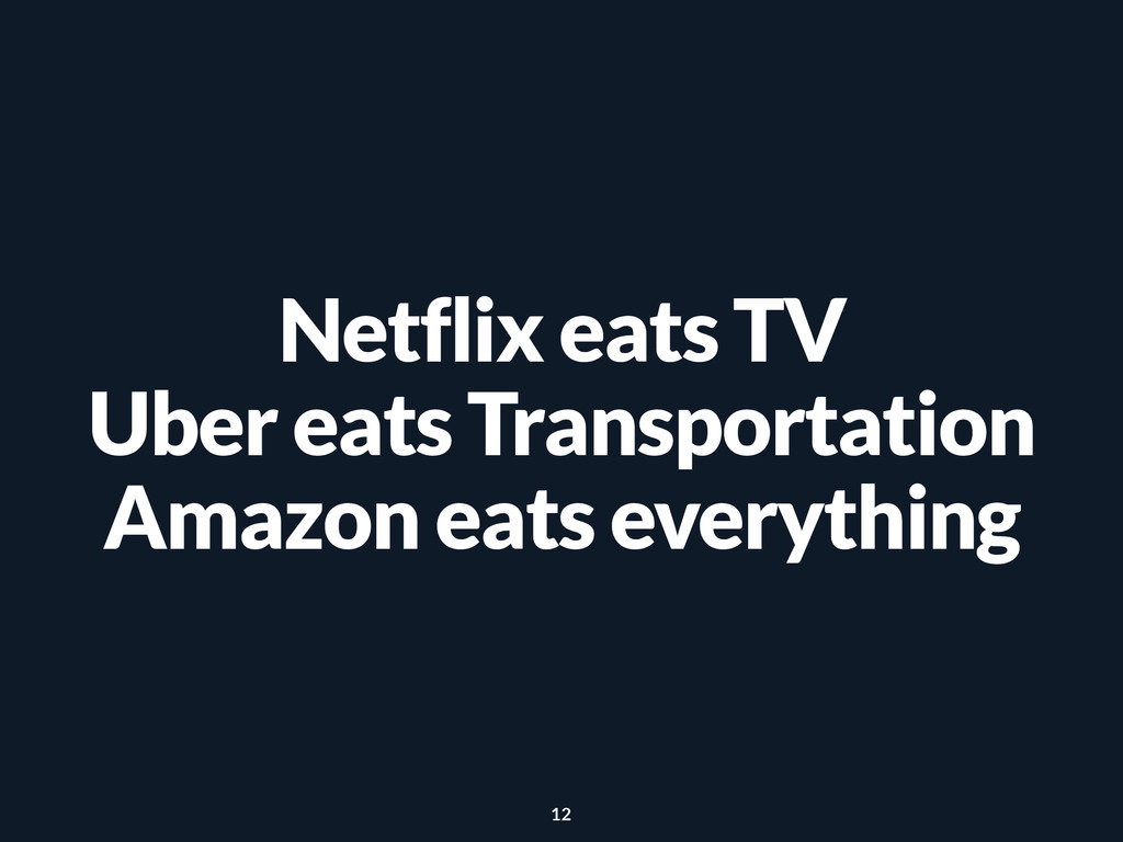 Netflix eats TV Uber eats Transportation Amazon...
