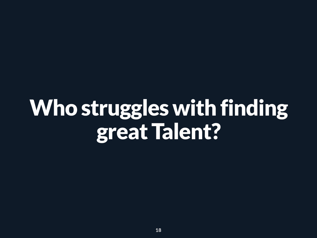 Who struggles with finding great Talent? 18