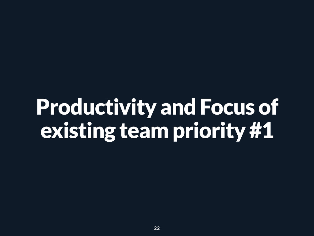Productivity and Focus of existing team priorit...