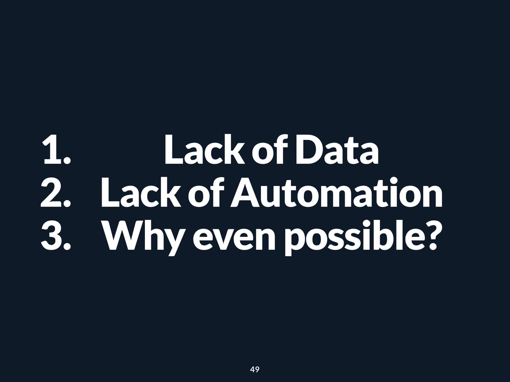 1. Lack of Data 2. Lack of Automation 3. Why ev...