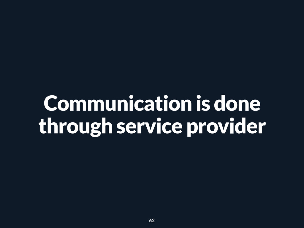 Communication is done through service provider ...