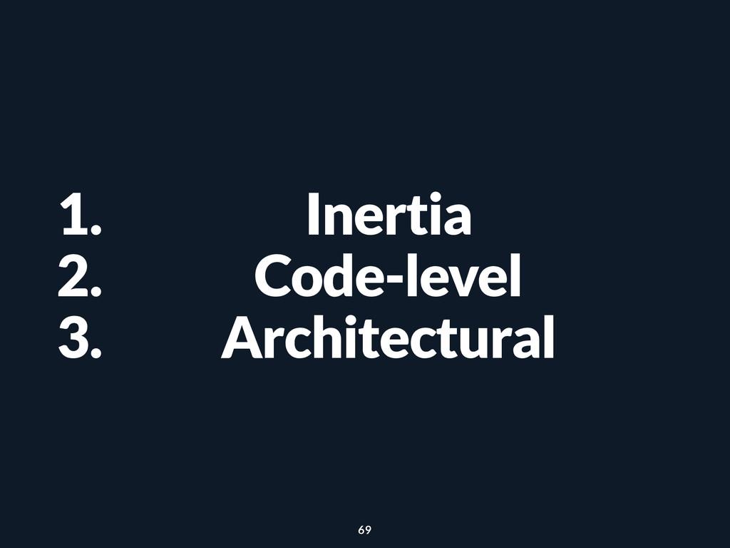 1. Inertia 2. Code-level 3. Architectural 69
