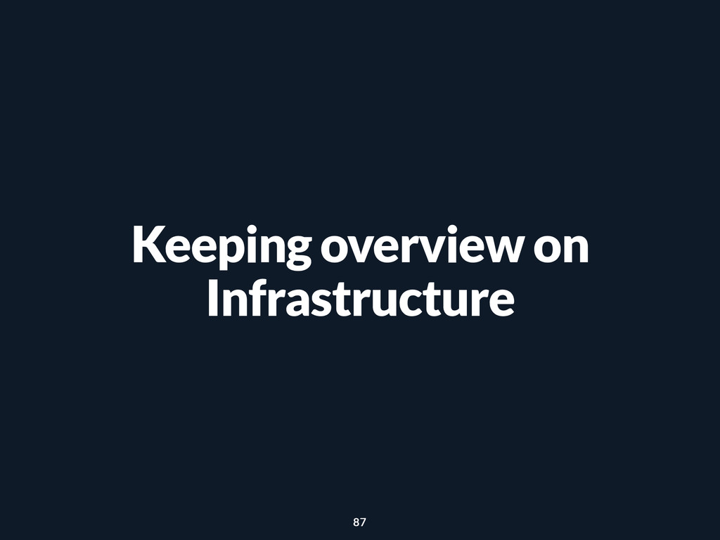 Keeping overview on Infrastructure 87