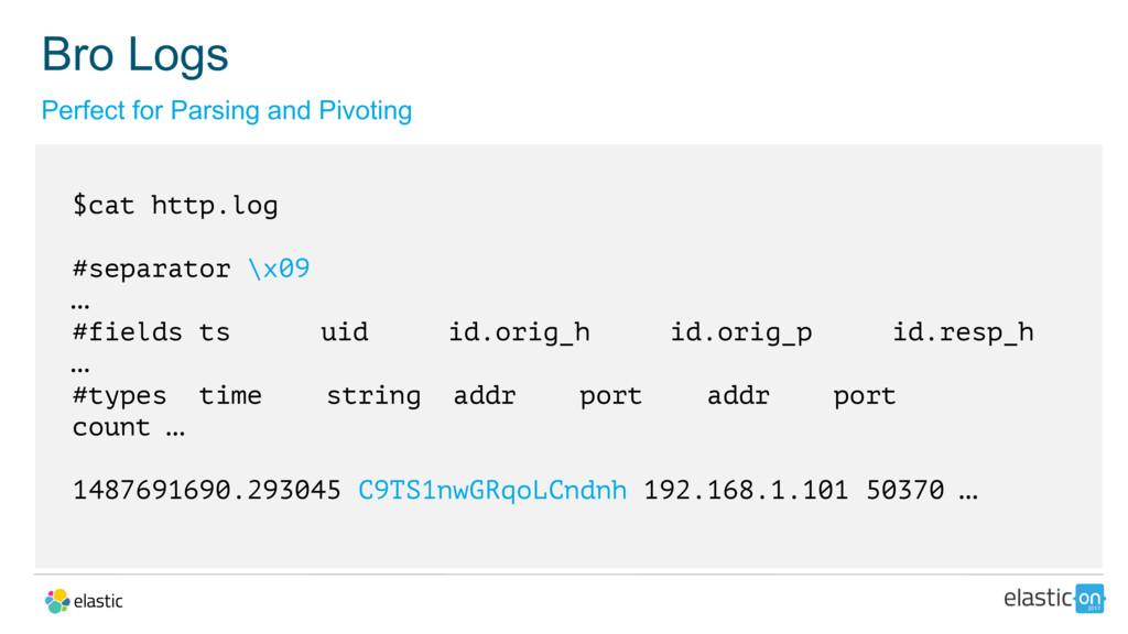 $cat http.log #separator \x09 … #fields ts uid ...